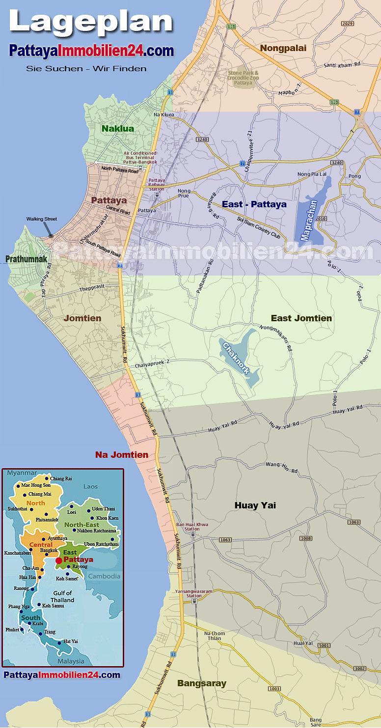 Wohnlagen Pattaya Lageplan - Pattaya Immobilien24