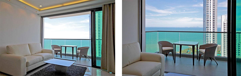 Wohnung zu vermieten mit Balkon & fantastischem Meerblick Naklua Pattaya