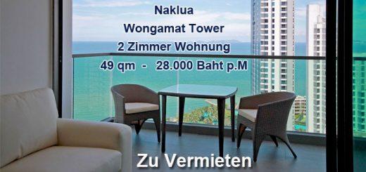 Naklua Wongamat Tower tolle Wohnung zu vemieten - fantastischer Meerblick
