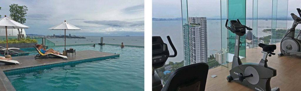 Swimmingpool und Fitness im Wongamat Tower Naklua Pattaya