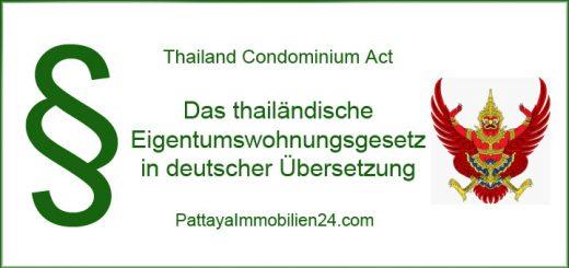 Thailand condominium act - das thailändische Eigentumswohnungsgetz auf Deutsch